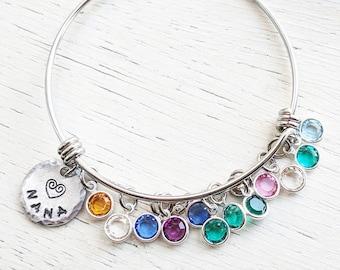 Grandma Bracelet, Nana Bracelet, Grandma Gift, Birthstone Jewelry, Nana Bangle, Swarovski Birthstones, Grandmother Jewelry, Grandma Bangle