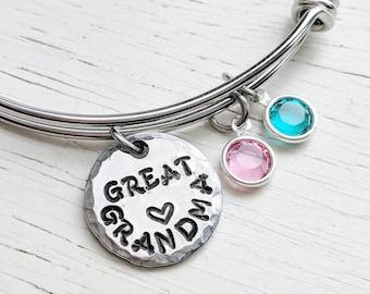 Great Grandma Bracelet, GreatGrandma Gift, Birthstone Jewelry, Swarovski Birthstones, Grandmother Jewelry, Custom Great-Grandma Jewelry
