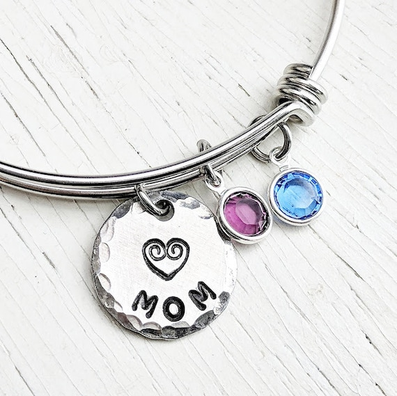Mom Bracelet Personalized Mothers Bracelet Mom Birthstone Etsy