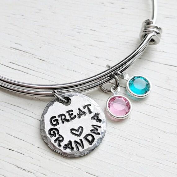 great grandma bracelet greatgrandma gift birthstone jewelry etsy
