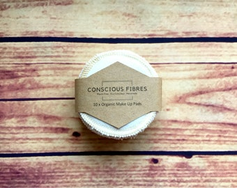 Organic cotton zero waste plastic free facial towelling makeup cloths eco alternative compostable 10 pads.