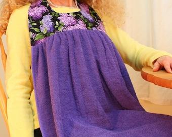 Adult Bib in Purple Lilacs, No-tie Apron, Senior Clothing Protector