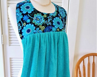 Adult Bib in Teal and Blue Flowers, Seafoam Green Terry Shirtsaver