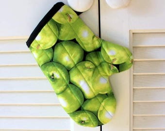 Child's Oven Mitt in Green Apples, Heat Resitant Kitchen Mitt for Kids