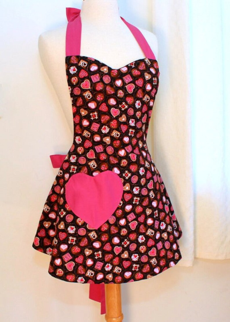 Womens Apron in Chocolate Candies Print image 0