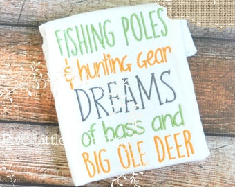 Little boys are made of - baby shower gift - daddy's hunting buddy - future hunter - little man - fishing poles - big ole deer - little girl