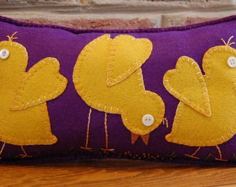 Here Chick Chick WoolFelt Pillow