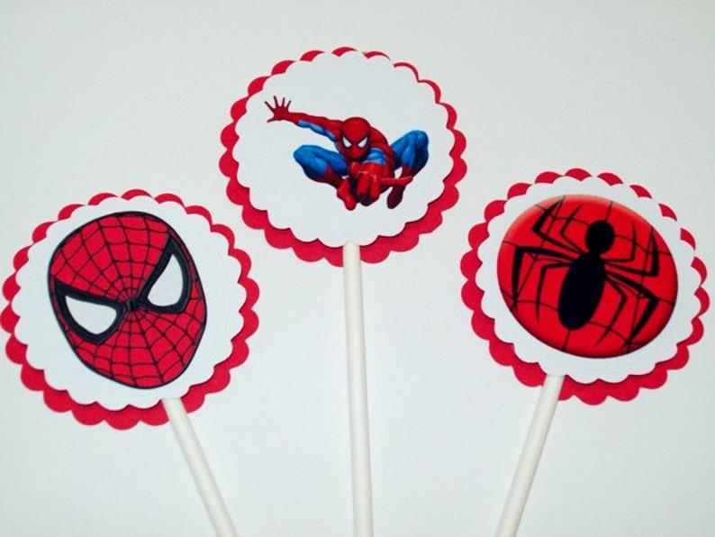 Tremendous Spiderman Cupcake Toppers Birthday Party Cake Toppers Boy Etsy Funny Birthday Cards Online Unhofree Goldxyz