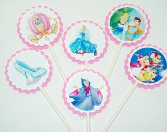 Cinderella Cupcake Toppers/ Girl Party/ Birthday Party/ Decorating Supplies