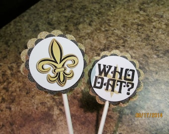 12 New Orleans Saints Cupcake Toppers/ Party/ Tailgate Party/ Birthday