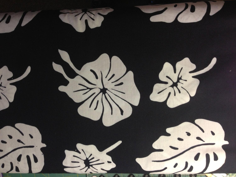 Sale Black Batik Fabric With Tropical White Hawaiian Flowers Etsy