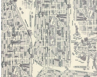 Passport New York City map cotton fabric in black and white for Moda fabric 33010 20
