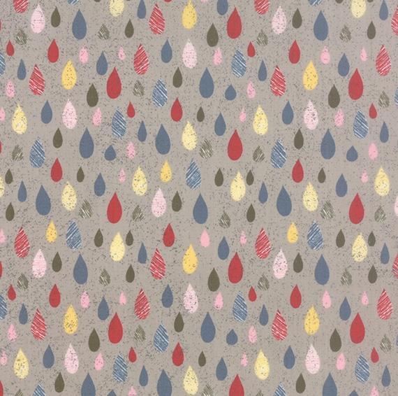 MON AMI Moda Blue Gray Rain drops Dots GRUNGE 30414 17 Basic Grey FABRIC