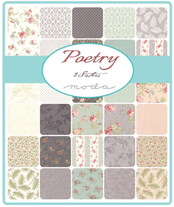 MODA Poetry 100 /% cotton fabric  mini charm pack