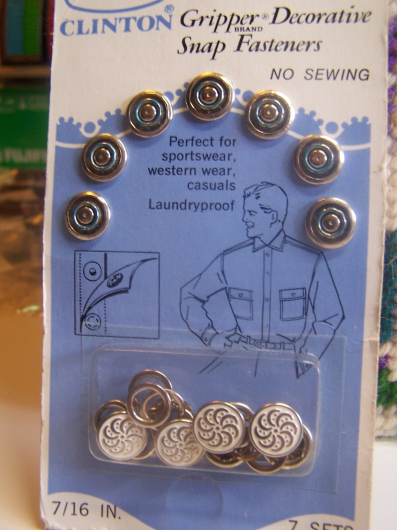 Vintage Decorative White & Silver Snap Fasteners 7 Sets NIP No Sew