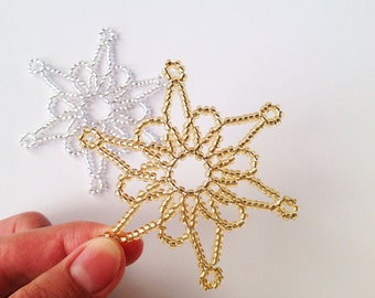 Beaded snowflakes, golden snowflakes, silvery snowflakes, 3 beadwork snowflakes, snowflakes decoration, Christmas tree decoration, snowflake