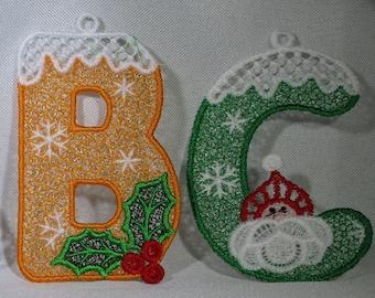 Lace Christmas Holiday Alpabet - Entire Alphabet