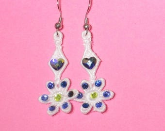 Lace Heart and Flower Earrings with Swarovski Crystals (2) - Free Shipping!
