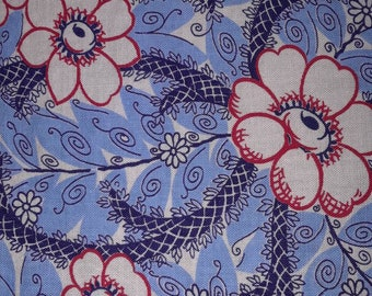 Vintage feed sack fabric, Floral, light blue dark blue red and white, great condition, 42 1/2 by 37
