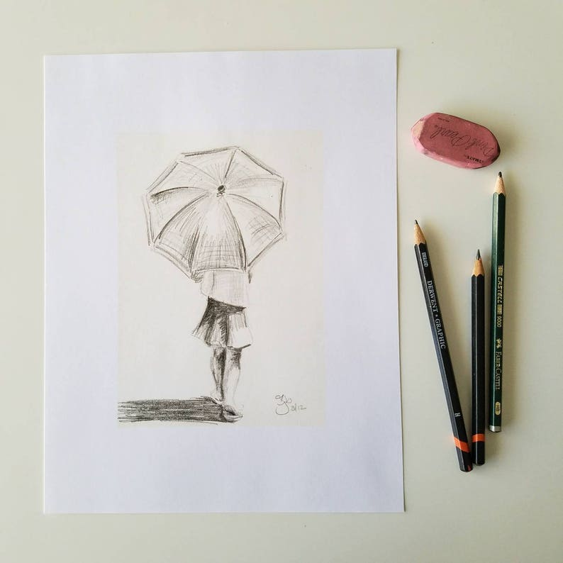 Girl with Umbrella  8x10 Art Print image 0
