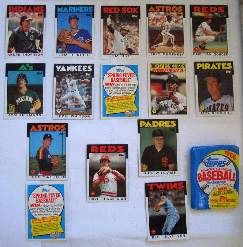 These 15 Baseball Trading Cards 1986 Topps In Opened 1986 Topps Package Condition At Least Ex Mint See Description