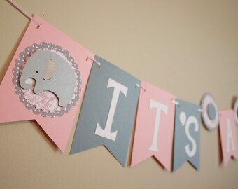 Elephant Baby Shower Banner, It's a Girl, pink and gray, Elephant Baby Shower Decoration