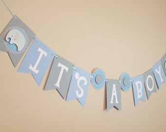 Elephant Baby Shower Banner, It's a Boy, blue and gray, Elephant Baby Shower Decoration