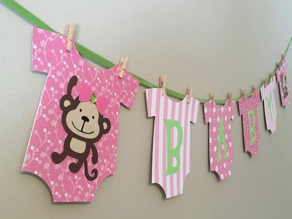 Monkey Baby Shower Banner Pink And Green Monkey Baby Monkey Etsy