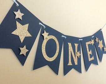 Twinkle Twinkle Little Star Banner, bleu marine et or premier anniversaire, première fête d'anniversaire, bannière de chaise haute, accessoire de photographie