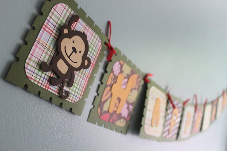 b78dd9b55dae Banner de cumpleaños, cumpleaños de mono, fiesta de cumpleaños de mono,  decoraciones de cumpleaños de mono, mono cumpleaños, cumpleaños safari,  selva ...