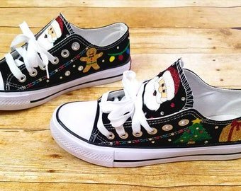 Christmas shoes, Santa shoes, Christmas tree, Christmas sneakers, wedding shoes, glitter shoes, custom sneakers