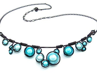 """Turquoise """"Miracle Beads""""  and Black Wire Wrapped Necklace with 18 gauge black craft wire and adjustable chain"""