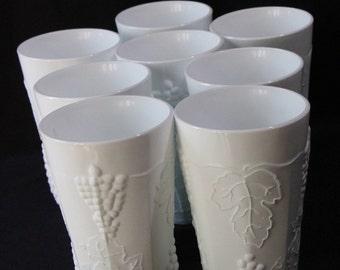 "Set of 8 Harvest Pattern Milk Glass ""Cooler"" by Lancaster Colony"