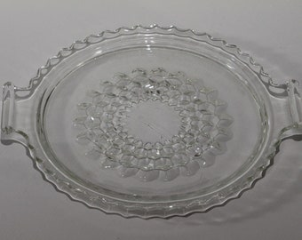 Vintage Jeannette Glass, Cube Pattern, 2-handled Tray (Depression Glass)