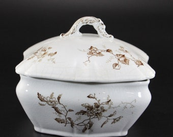 Antique Smith, Ford & Jones, Burslem, England, Covered Soap Dish with Insert, Lucerno Pattern, Semi-porcelain Transfer Ware, c.1892