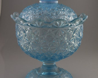 Vintage L. E. Smith Glass, Blue Opalescent, Daisy & Button Pattern #4494, Compote with Lid