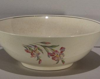 Universal Cambridge Potteries, Iris Pattern, Large Salad Bowl with Platinum Trim