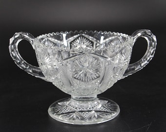 Vintage Imperial Glass, 2-Handled Round Footed Dish, Pattern #607