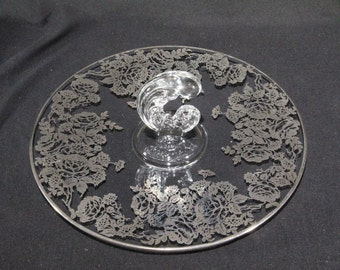 Vintage Silver City Glass Company (on Fostoria blank) Center Handle Tray with Silver Overlay
