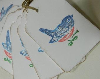 Aqua and Pink Vintage Style Bird Gift Tags Blue Bird Merci Tags by Bluebird Lane