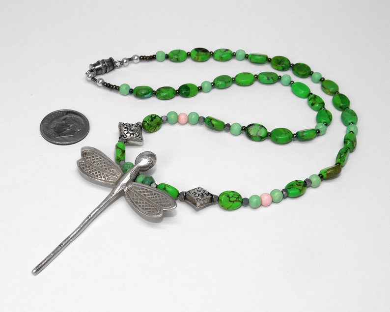 Natural Lime Turquoise Necklace with Hill Tribe Silver December Birthstone Lime Green Color- Egyptian Silver Beads Dragonfly Pendant