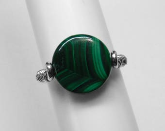 Malachite Ring in Silver or Gold, 12 mm