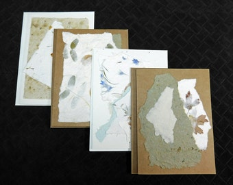 Handmade Paper/ Note Cards/ DIY Invitations/ Paper Collage/ Greeting Cards/ Wedding Stationery/ Thank you Notes/ Floral Paper/
