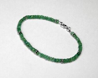 """Zambian Emerald Bracelet in Silver, 7.5"""""""