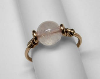 Rose Quartz Ring in Silver or Gold, 8 mm