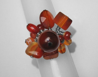 Carnelian Cluster Ring
