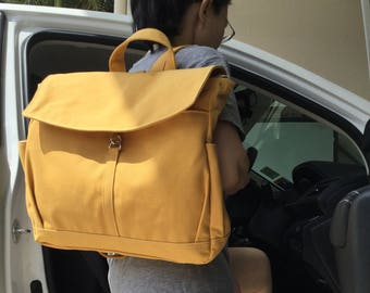 Mother Day SALE 25% -  Hugo - Mustard Backpack , Laptop Backpack, Satchel, Diaper Bag, Rucksack, School Bag, Women Bag, Diaper Backpack