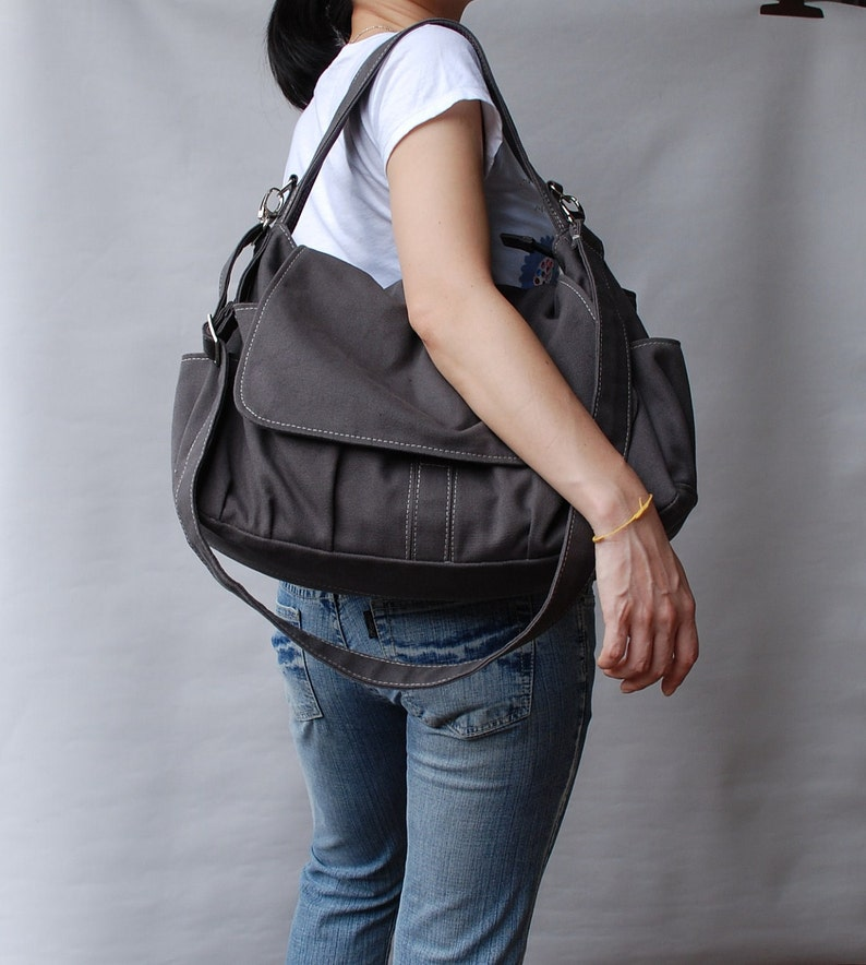 Messenger Bag   Grey Diaper Bag School Bag Shoulder Bag  b99023650322f