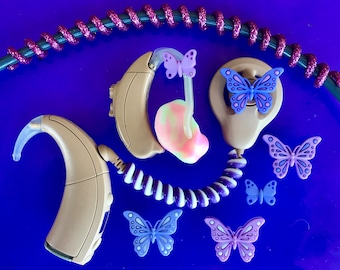 Cochlear Implant Accessories (Cochlear Bling) or Hearing Aid Accessory (Tube Treasures) - Butterflies