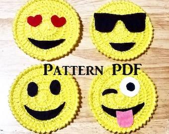 Handmade Crocheted Emoji Coasters Pattern, PDF Emoji Coaster Pattern, Home Decor, Beverage Coaster